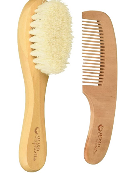 Baby BRUSH & COMB Wood, Green Sprout