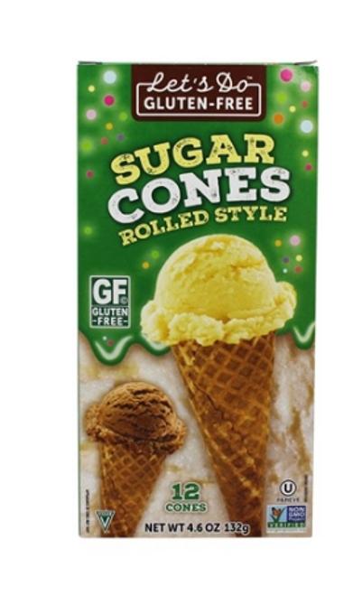 SUGAR CONES,  Ice cream cones rolled style, LET'S DO G/F, 12 cones