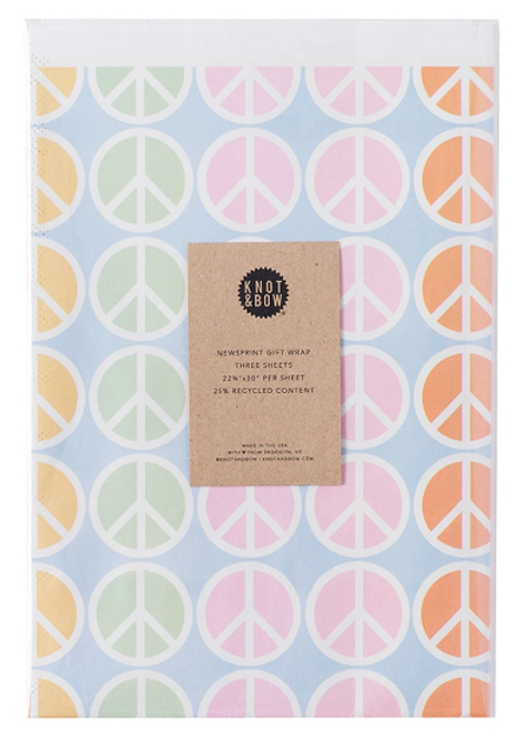 NEWSPRINT GIFT WRAP, Peace 3 sheets