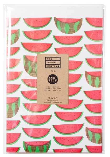 NEWSPRINT GIFT WRAP, Watermelon  3 sheets