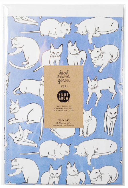 NEWSPRINT GIFT WRAP, Violet Cats, Knot & Bow 3 Sheets