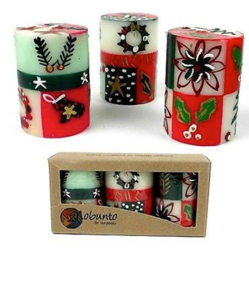 CANDLES, PAINTED HOLIDAY NOBUNTO - Set of 3