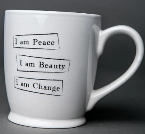 "MUG, ""Peace, Beauty, Change"" Iamtra - 16 oz ceramic mug"