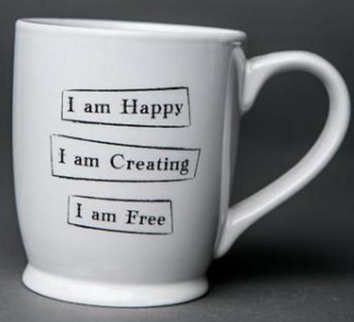 "MUG, ""Happy, Creating, Free"", Iamtra - 16 oz ceramic cup"