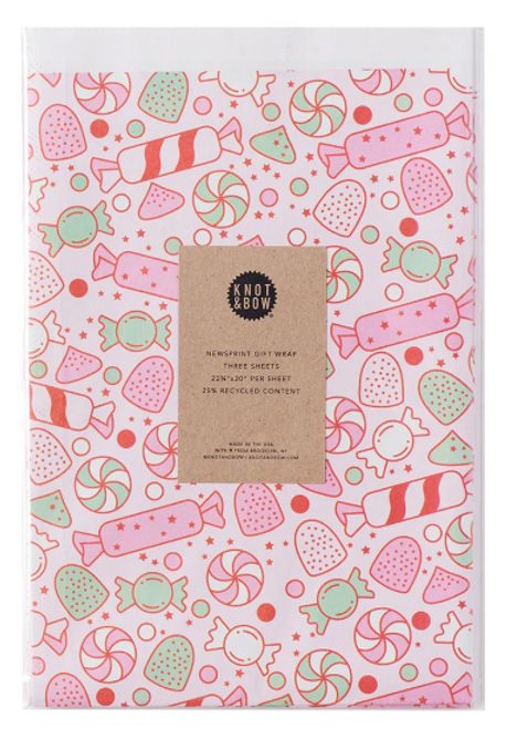 NEWSPRINT GIFT WRAP, HOLIDAY SWEETS, 3 Sheets