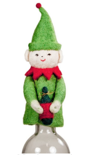 BOTTLE TOPPER: Green and Red Felt ELF, Tibet Collection F/T - 7 inches