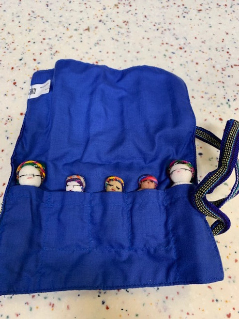 WORRY DOLL FAMILY IN CLOTH ROLL-UP, Upavim Crafts - 5 count