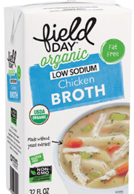 BROTH, CHICKEN, low salt,  Organic, Field Day, 32 fl oz