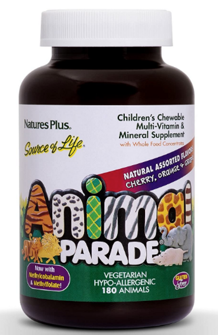 MULTIVITAMIN ANIMAL PARADE ASSORTED, Nature's Plus, 180 chewable tablets