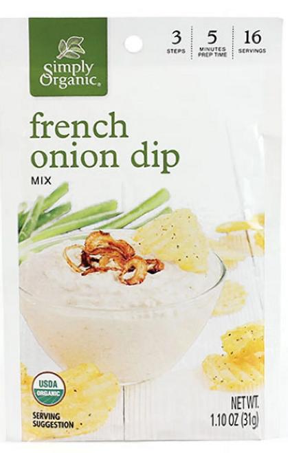 DIP MIX, FRENCH ONION,  SIMPLY ORGANIC,   1.10 oz dry mix