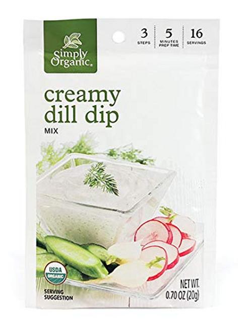 DIP MIX, *SALE* CREAMY DILL, Simply Organic - .70 oz dry mix