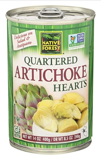 ARTICHOKE HEARTS, quartered, NATIVE FOREST,   14 oz