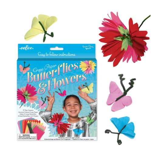 CRAFT KIT, Crepe Paper Butterflies and Flowers Kit, Eeboo