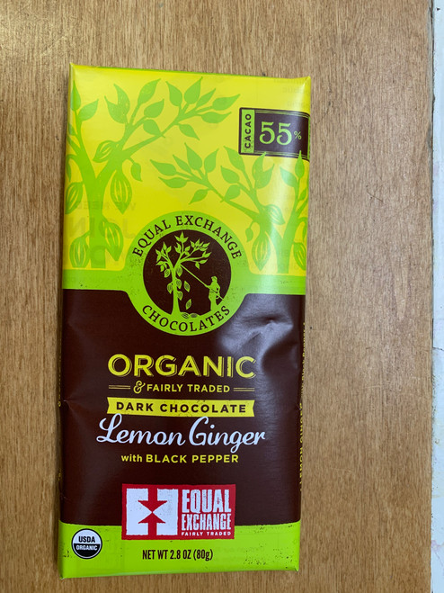 BAR, DARK CHOCOLATE LEMON GINGER PEPPER, ORGANIC, Equal Exchange, 2.8 oz