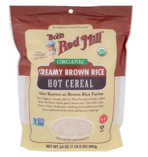 CEREAL, CREAM OF RICE, BROWN RICE FARINA, Organic, G/F Bob's - 24 OZ