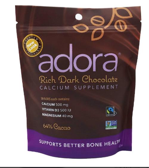 ADORA DARK CHOCOLATE W/CALCIUM, Organic - 30 count