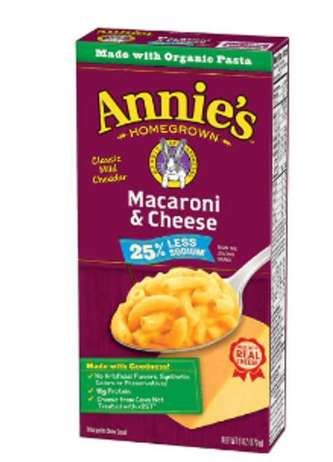 MAC & CHEESE, Less salt, ANNIE'S      6 oz.