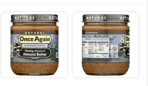 ALMOND BUTTER, ROASTED, SMOOTH, UNSWEETENED, no salt, ONCE AGAIN,   16 oz