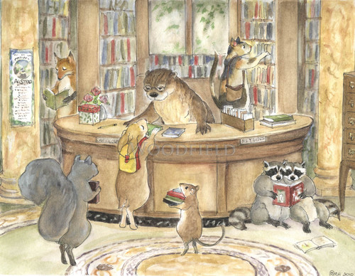 library with Mrs Otter helping find the right book