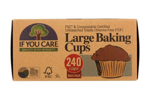 BAKING CUPS, LARGE (2.5 inch), If You Care,  BULK 240 count box