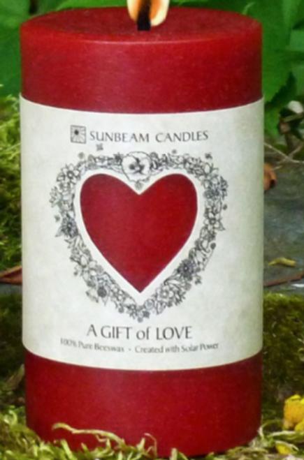 CANDLE- LOVE PILLAR-BEESWAX, Sunbeam Candles,  2x3.25