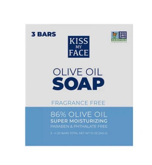 BAR SOAP, OLIVE OIL, fragrance free, KISS MY FACE, 3  / 4 oz bars
