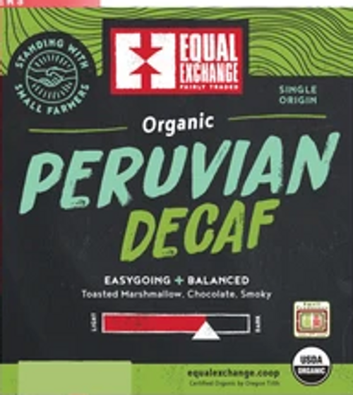*SALE* COFFEE, DECAF PERU,  Organic, by the lb. (give the grind at checkout)