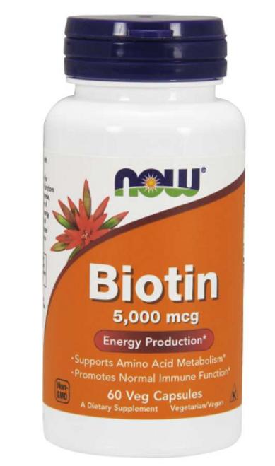 Biotin 5,000 mcg, NOW Foods - 60 Veg Capsules
