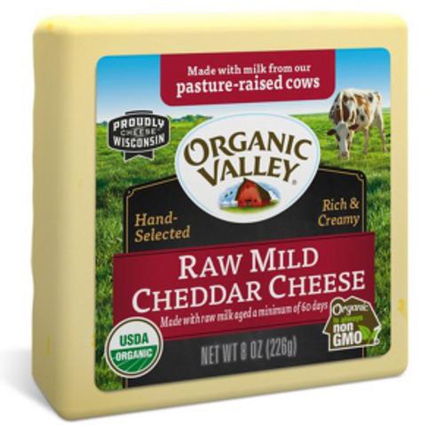 CHEESE, CHEDDAR, RAW, MILD Organic, 8 OZ