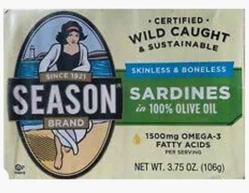 SARDINES, OLIVE OIL, Skinless, Boneless, 3.75 OZ