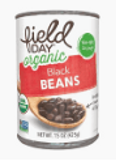 BLACK BEANS, Organic, FIELD DAY, 15 oz