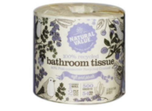 BATH TISSUE,  2-PLY 100% recycled  -  1 roll/500 sheets