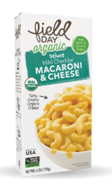 MAC & CHEESE ORGANIC DELUXE with cheese sauce pre-mixed, Field Day, 6 oz