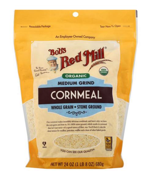 CORNMEAL,  MEDIUM GRIND, Organic, BOB'S RED MILL,    24 OZ