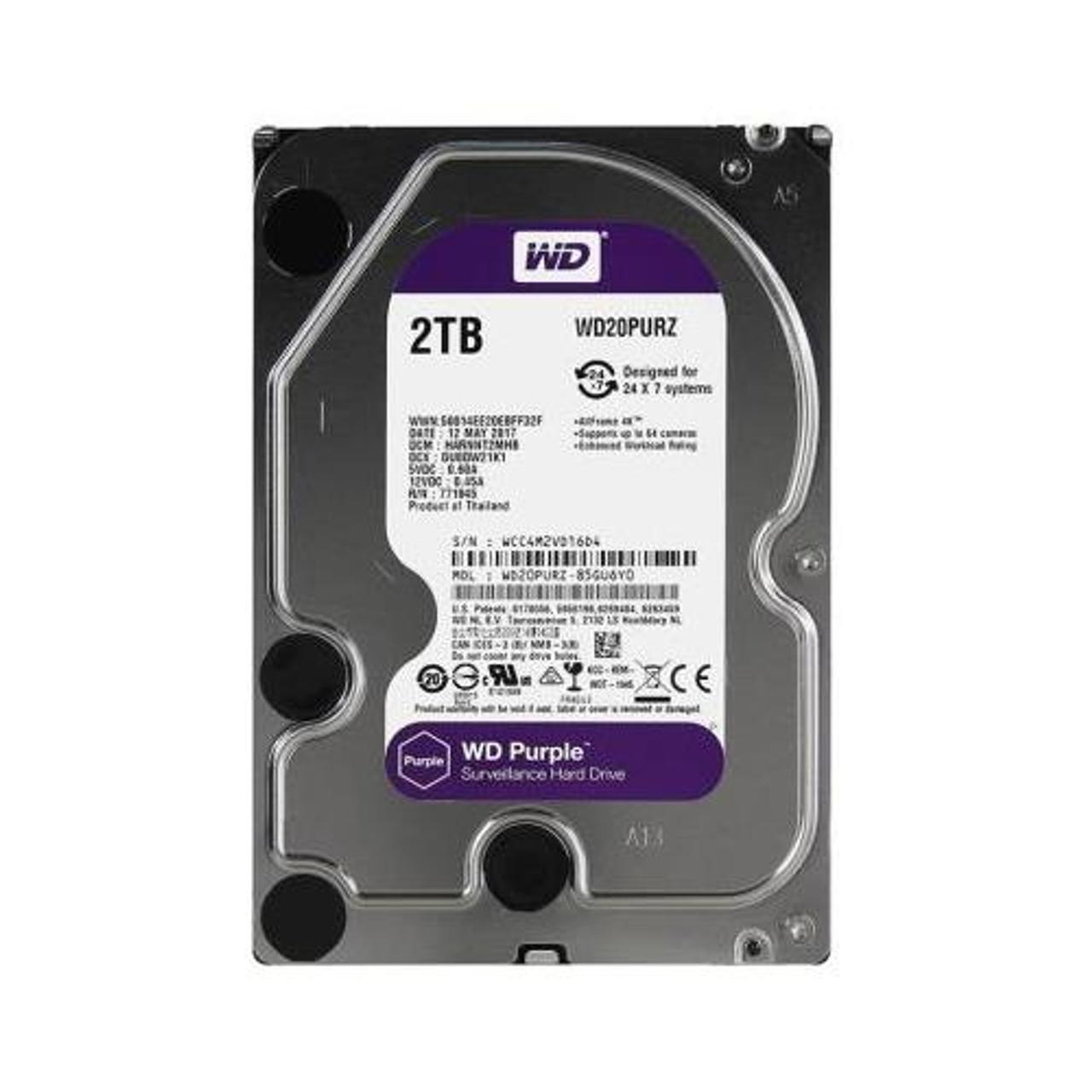 """WD WD20PURZ Purple 2 TB 3.5/"""" 5400 RPM SATA 64 MB Cache Hard Drive"""