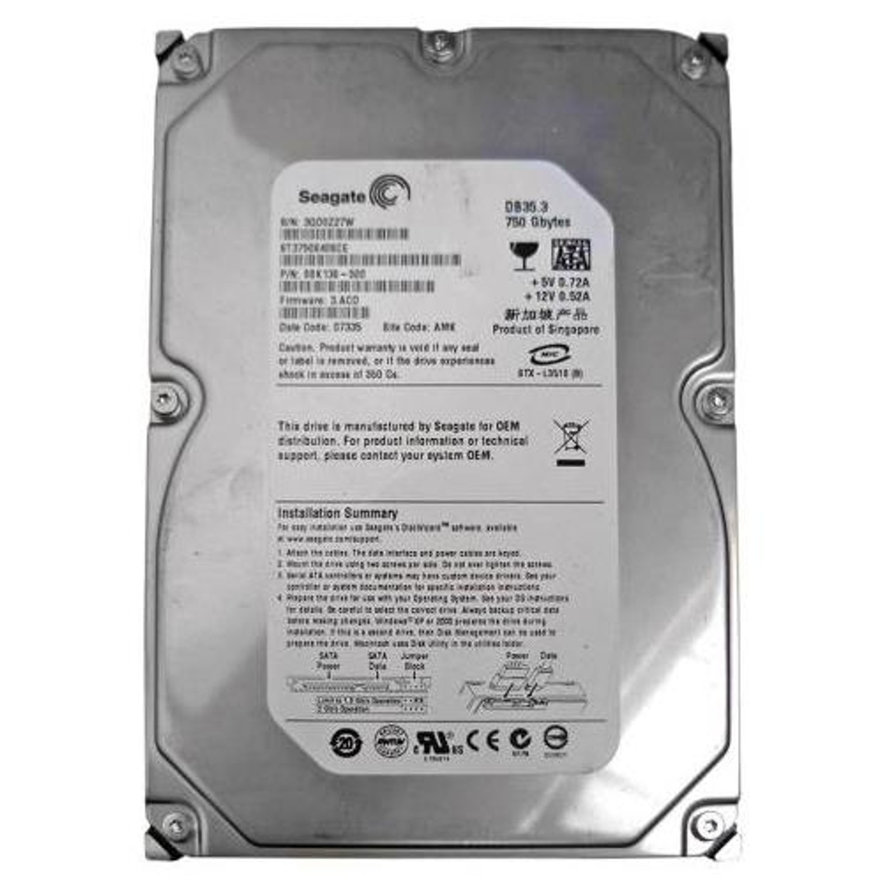 ST3750840ACE HDD Seagate DB35 750GB Internal 7200RPM 3.5/""