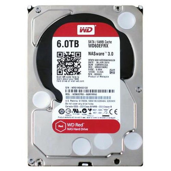 WD60EFRX Western Digital 6TB 5400RPM SATA 6.0 Gbps 3.5 64MB Cache Red Hard Drive