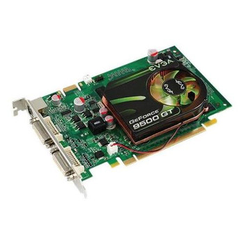 01GP3N959K2 EVGA GeForce 9500 GT 1GB 128-Bit DDR2 PCI Express 2.0 x16 Dual DVI/ HDTV/ S-Video Out/ HDCP Ready/ SLI Supported Video Graphics Card