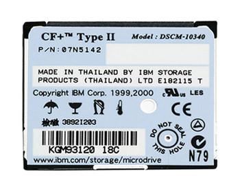 07N5142 IBM Microdrive 340MB 3600RPM CompactFlash (CF+) Type II 128KB Cache 1.8-inch Internal Hard Drive