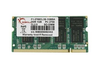 F1-2700CL3S-1GBSA G Skill 1GB DDR SoDimm Non ECC PC-2700 333Mhz Memory