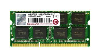 JM1066KSN-4G Transcend 4GB DDR3 SoDimm Non ECC PC3-8500 1066Mhz 2Rx8 Memory