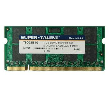 T800SB1G Super Talent 1GB DDR2 SoDimm Non ECC PC2-6400 800Mhz Memory