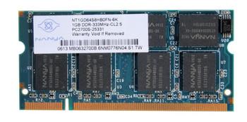 NT1GD64S8HB0FN-6K Nanya 1GB DDR SoDimm Non ECC PC-2700 333Mhz Memory