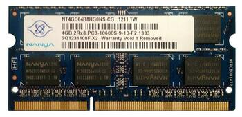 NT4GC64B8HG0NS-CG Nanya 4GB DDR3 SoDimm Non ECC PC3-10600 1333Mhz 2Rx8 Memory