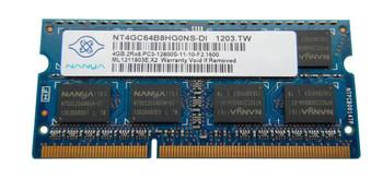 NT4GC64B8HG0NS-DI Nanya 4GB DDR3 SoDimm Non ECC PC3-12800 1600Mhz 2Rx8 Memory
