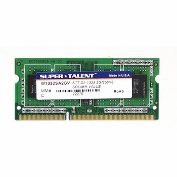 W1333SA2GV Super Talent 2GB DDR3 SoDimm Non ECC PC3-10600 1333Mhz 2Rx8 Memory