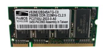 V826632B24SATG-C0 ProMOS 256MB DDR SoDimm Non ECC PC-2700 333Mhz Memory