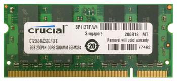 CT25664AC53E.16FE Crucial 2GB DDR2 SoDimm Non ECC PC2-4200 533Mhz Memory
