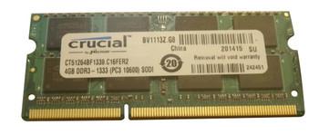 CT51264BF1339.C16FER2 Crucial 4GB DDR3 SoDimm Non ECC PC3-10600 1333Mhz 2Rx8 Memory