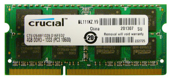 CT51264BF1339.D16FED2 Crucial 4GB DDR3 SoDimm Non ECC PC3-10600 1333Mhz 2Rx8 Memory